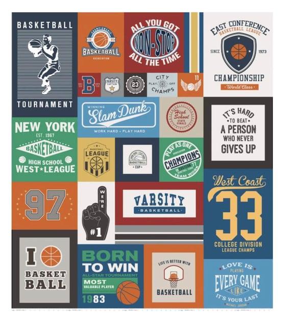"Varsity Basketball Panel by Deena Rutter For Riley Blake Designs- P7540-Panelm Size 56"" x 64"""