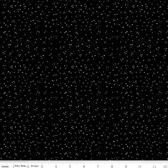 Snow Sweet- 1/2 Yard Increments Cut Continuously- C9671 Black Sugary Snow Dots- J Wecker Frisch for Riley Blake Designs