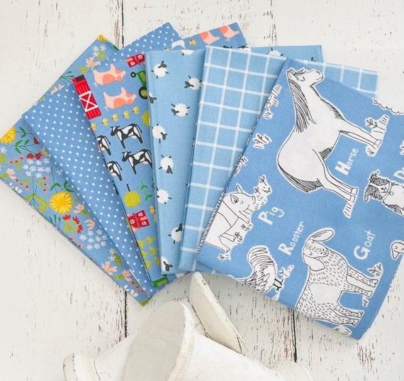On the Farm -Fat Quarter Bundle (6 Fabrics Blue) by Stacy Iset Hsu