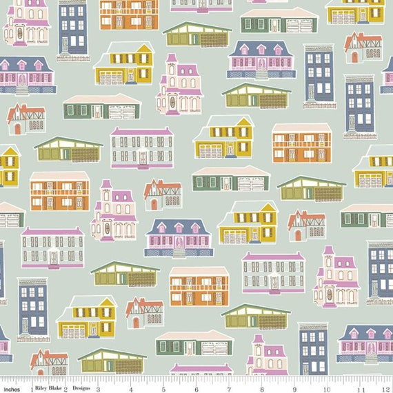 Community- 1/2 Yard Increments, Cut Continuously (C11101 Mint Houses) by Citrus and Mint Designs for Riley Blake Designs