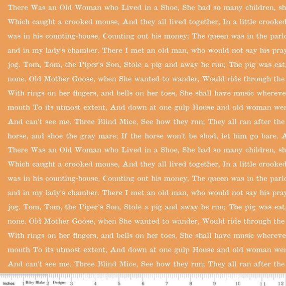 GOOSE TALES- 1/2 yard Increments Cut Continuously-(C9400 Orange Text) by J. Wecker Frisch for Riley Blake Designs