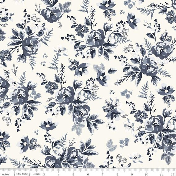 Gingham Foundry - 1/2 Yard Increments, cut continuously - Cream Floral - C11131  by My Minds Eye for Riley Blake Designs