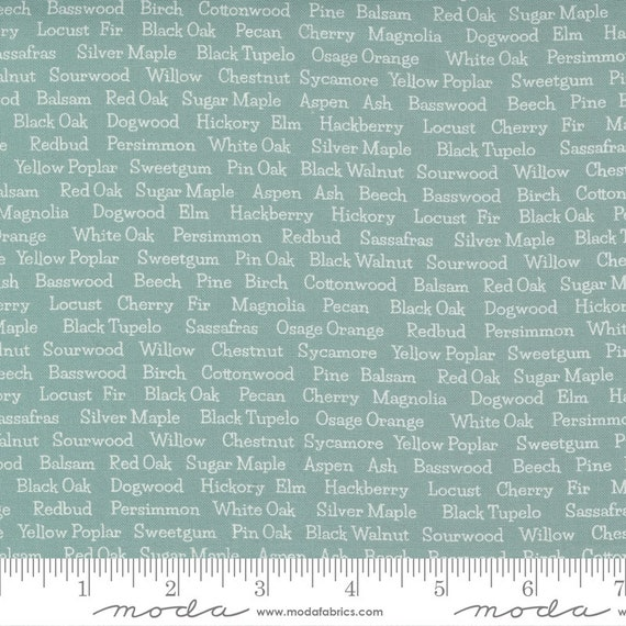 Cozy Up- 1/2 Yard Increments, Cut Continuously (29124 27 Trees Text Blue Skies) by Corey Yoder for Moda Fabrics
