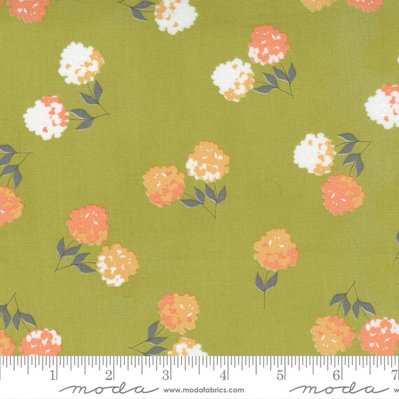 Cozy Up- 1/2 Yard Increments, Cut Continuously (29121 15 Clover Floral Moss) by Corey Yoder for Moda Fabrics