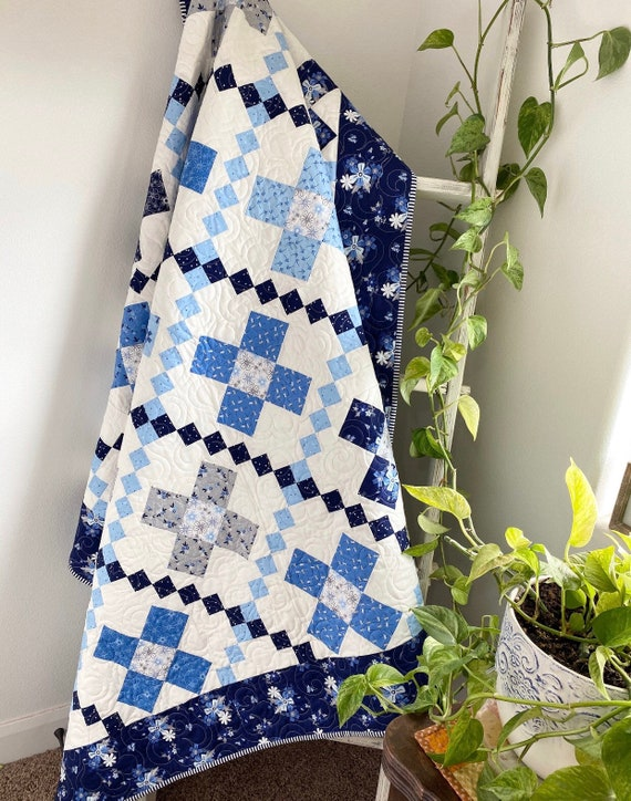 """Criss Cross Quilt KIT with Paper Pattern by Primrose Cottage Quilts- Finished Quilt Size 66"""" x 66"""""""