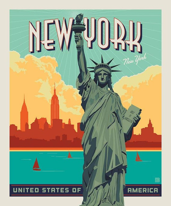 """Destinations Lady Liberty Poster Panel- 36"""" x 43.5"""" - by Anderson Design Group for Riley Blake Designs- P10025"""