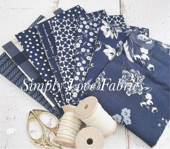 Gingham Foundry -Fat Quarter Bundle- 8 Navy Fabrics by My Minds Eye for Riley Blake Designs
