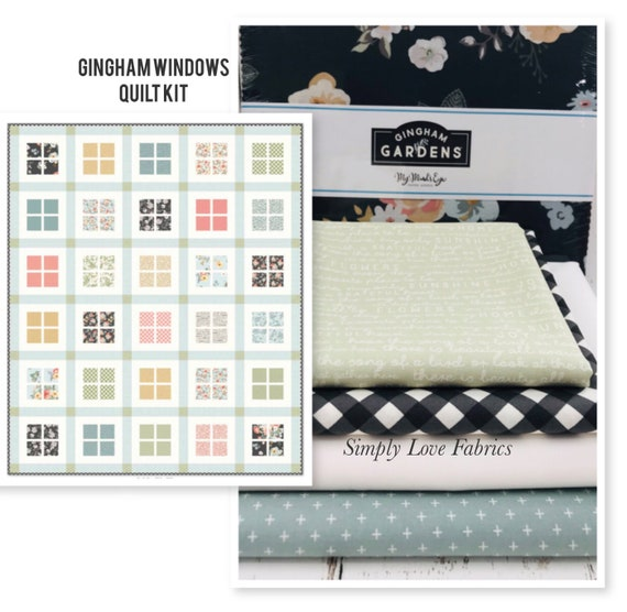 """Gingham Windows Paper Quilt KIT with Pattern for Riley Blake Designs- Finished Quilt 61"""" x 73"""" -Shown in Gingham Gardens Fabric"""