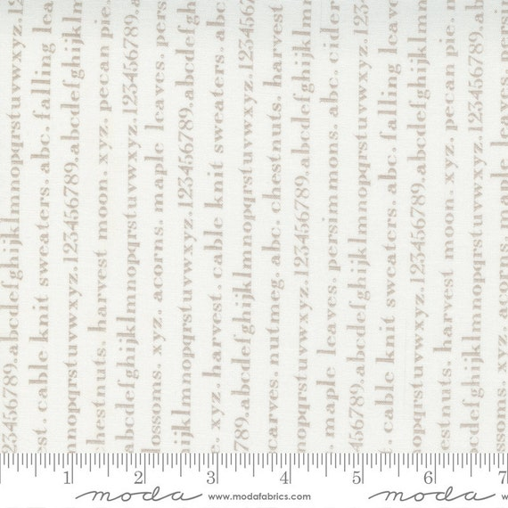 Pumpkins and Blossoms- 1/2 Yard Increments, Cut Continuously  (20425 26 Text Alphabet - Vanilla Pebble) by Fig Tree & Co. for Moda