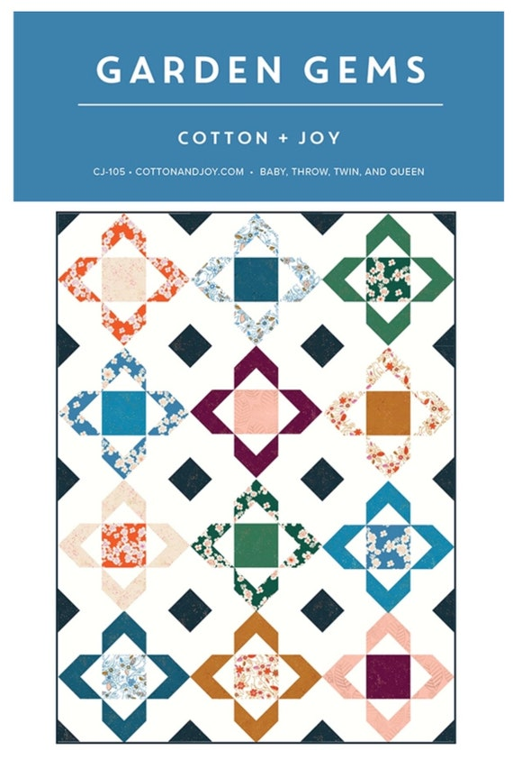 """Garden Gems Paper Pattern by Cotton and Joy -CJ105-  4 Size Options- Finished Throw Size 54"""" x 72"""""""
