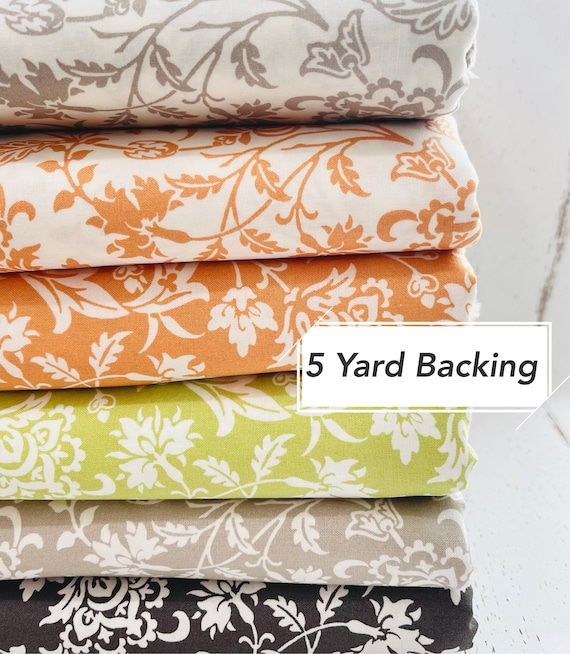 5 Yard Backing- Pumpkins and Blossoms- (20420 Vine Damask) by Fig Tree & Co. for Moda