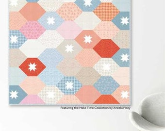 """Stacked Tiles Quilt PAPER Pattern (Finished Size 78"""" x 78"""") by Natalie Crabtree"""