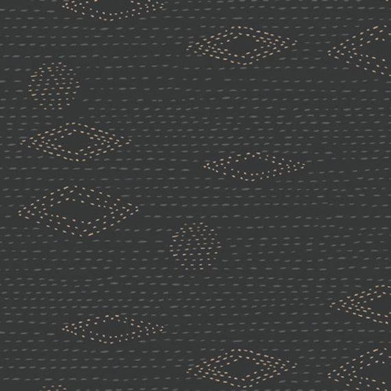 Kismet -1/2 Yard Increments, Cut Continuously (Kantha Charcoal KSM- 83301) by Sharon Holland for Art Gallery Fabrics Studio