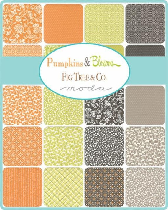 Pumpkins and Blossoms- 1/2 Yard Bundle (8 Charcoal Fabrics) by Fig Tree for Moda