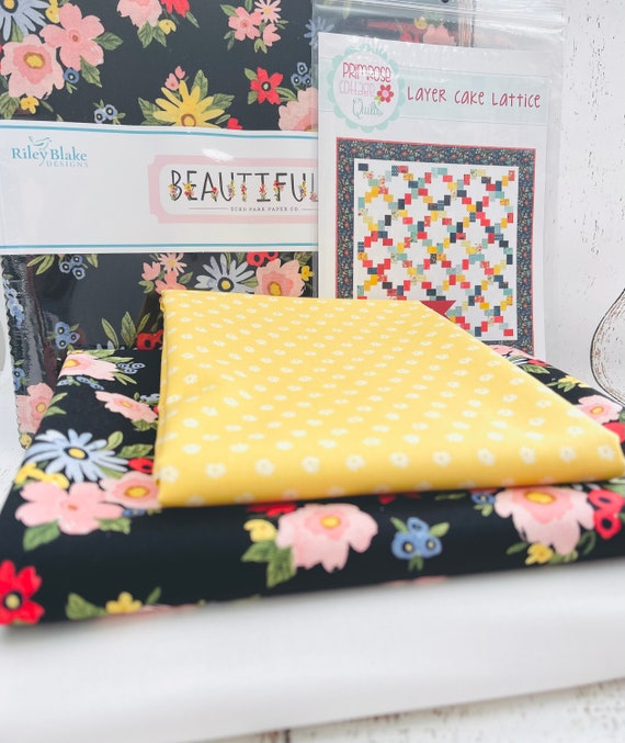 """Layer Cake Lattice Quilt KIT with Paper Pattern by Primrose Cottage Quilts- Finished Quilt Size 75"""" x 75"""""""