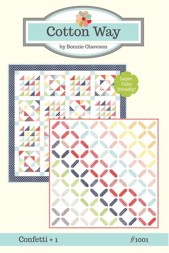 """Confetti Pattern by Cotton Way for Moda CW 1001 -Finished Quilt Size 62"""" x 62"""""""