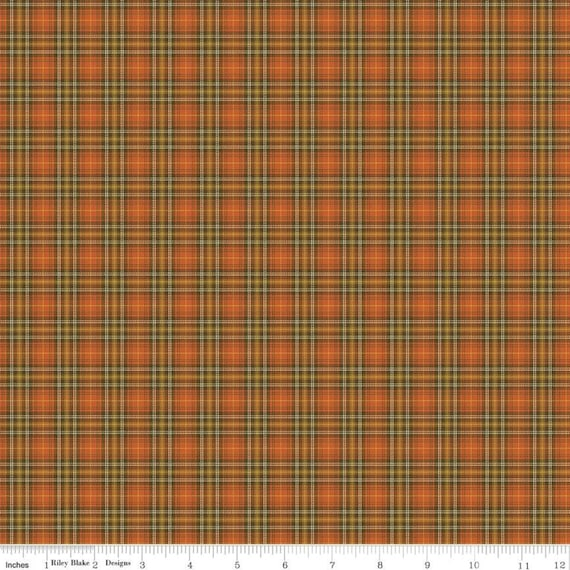 Adel in Autumn- 1/2 Yard Increments, Cut Continuously (C10828 Persimmon Plaid) by Sandy Gervais for Riley Blake Designs