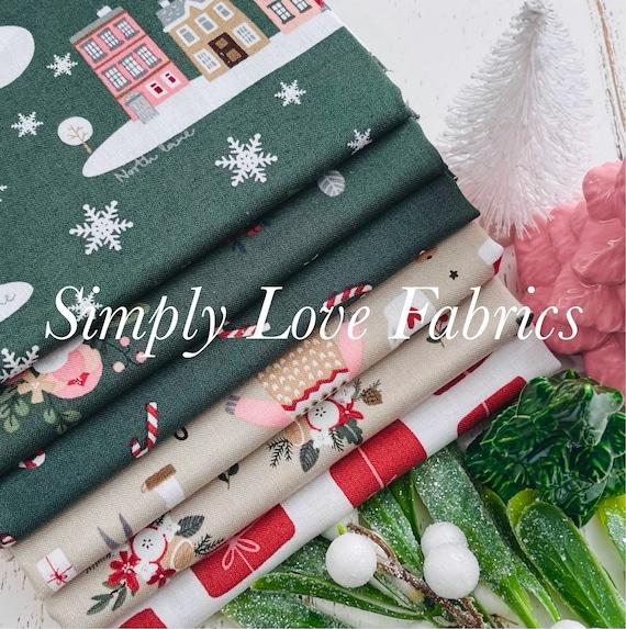 Warm Wishes- 1/2 Yard Bundle (6 Green/Tan Fabrics) by Simple Simon and Company