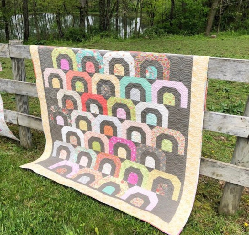Finished Size 70 x 82 Printed Version Rainbow Quilt Kit With Pattern in Sunnyside Up by Corey Yoder for Moda