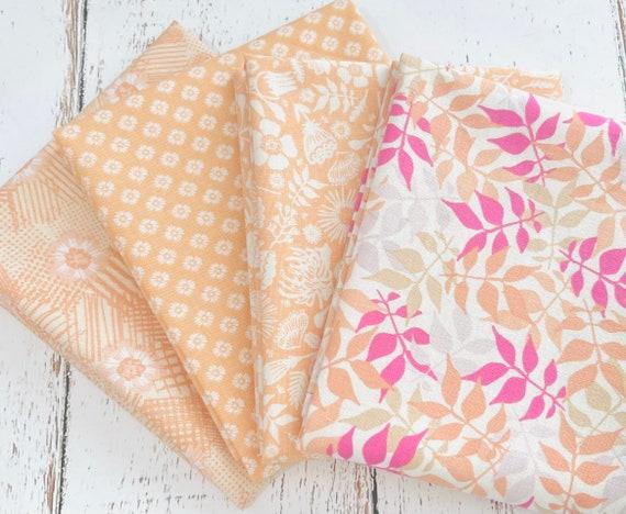 Meadow Lane- Fat Quarter Bundle (4 Melon Fabrics) by Sara Davies for Riley Blake Designs- Orange