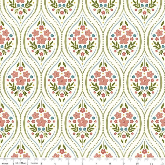 Primrose Hill - 1/2 Yard Increments, Cut Continuously Cream Damask - C11061  by Melanie Collette for Riley Blake Designs