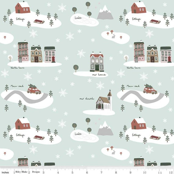Warm Wishes -1/2 Yard Increments, Cut Continuously - (C10780 Sky Main) by Simple Simon and Company