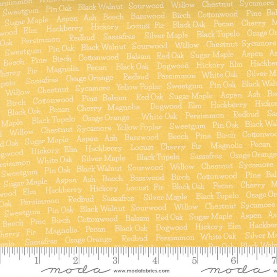 Cozy Up- 1/2 Yard Increments, Cut Continuously (29124 24 Trees Text Sunshine) by Corey Yoder for Moda Fabrics