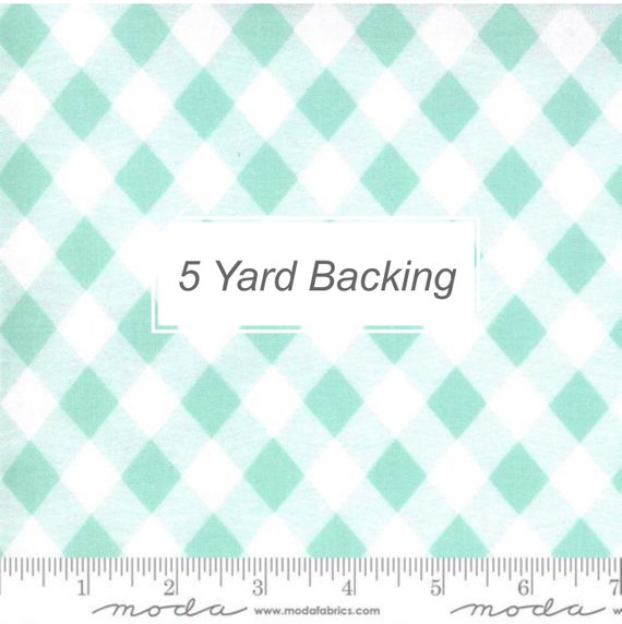 5 Yard Backing- Sunday Stroll- 55227-14 Picnic Gingham Aqua by Bonnie and Camille for Moda