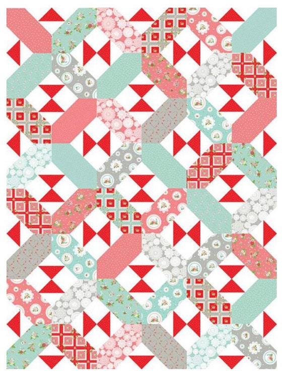 """X's and Bows Quilt Pattern Vintage Adventure by Flamingo Toes for Riley Blake Designs- 63"""" x 79"""" Finished Size"""