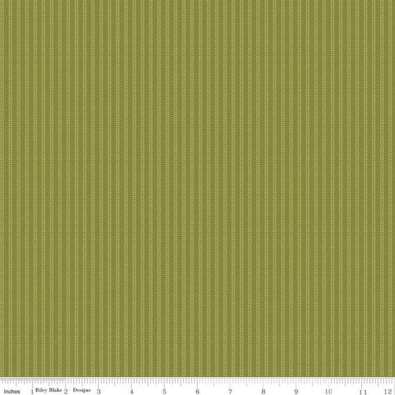 Primrose Hill - 1/2 Yard Increments, Cut Continuously Olive Field Rows - C11066  by Melanie Collette for Riley Blake Designs