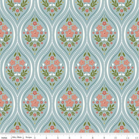 Primrose Hill -1/2 Yard Increments, Cut Continuously Aqua Damask - C11061  by Melanie Collette for Riley Blake Designs