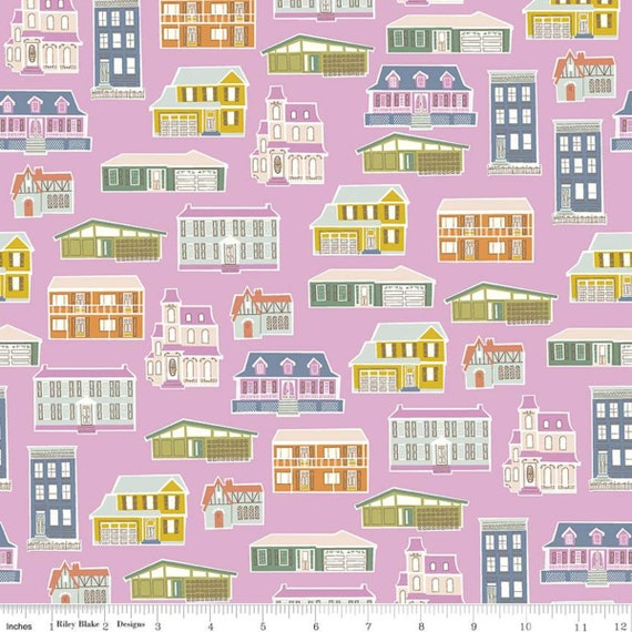 Community- 1/2 Yard Increments, Cut Continuously (C11101 Orchid Houses) by Citrus and Mint Designs for Riley Blake Designs