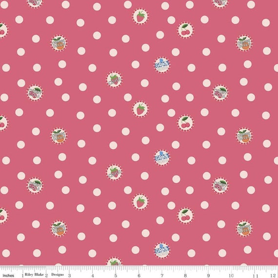 Summer Picnic - 1/2 Yard Increments, Cut Continuously - C10752 Tea Rose Bottlecaps by Melissa Mortenson for Riley Blake Designs