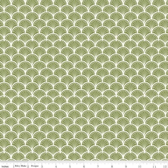 Stardust- 1/2 Yard Increments, Cut Continuously (C10502 Scallops Olive) Beverly McCullough for Riley Blake Designs