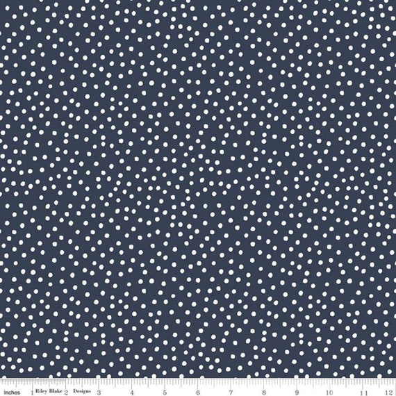 Gingham Foundry -1/2 Yard Increments, cut continuously - Navy Dots - C11138  by My Minds Eye for Riley Blake Designs