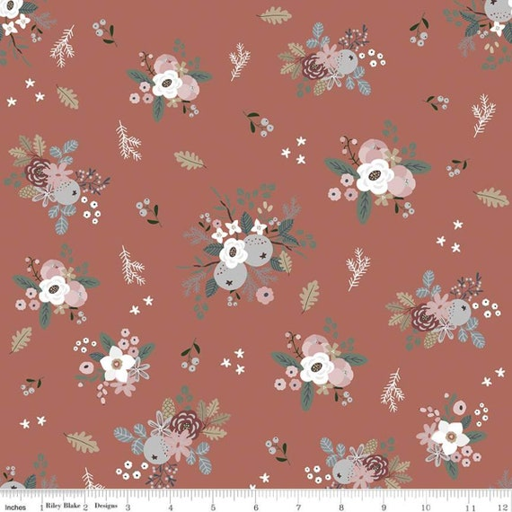 Warm Wishes -1/2 Yard Increments, Cut Continuously - (C10781 Redwood Floral) by Simple Simon and Company