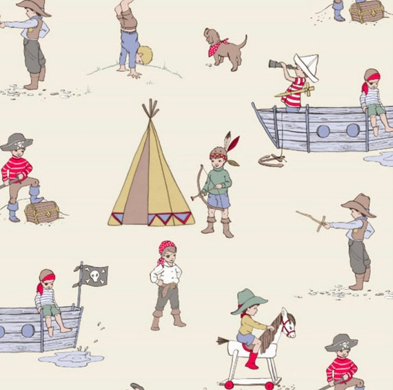 Belle and Boo- (1/4 Yard Increments, Cut Continuously) Pirate Tales Print