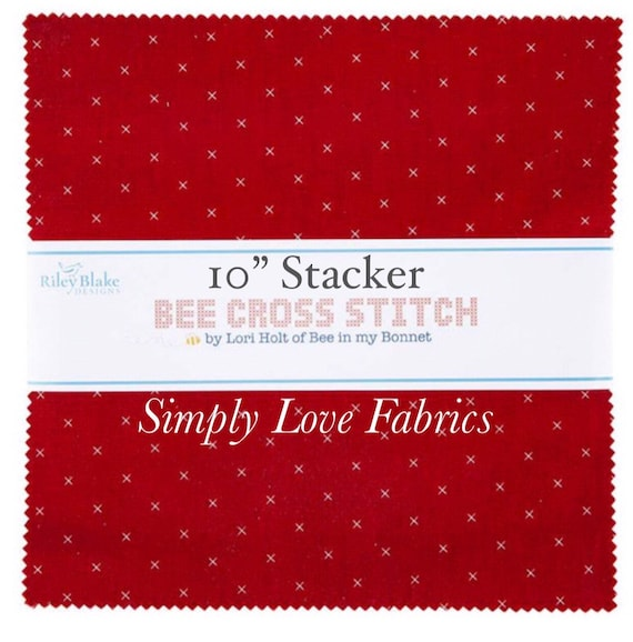 """Bee Cross Stitch- 10"""" Stacker (10-745-42 Fabrics) by Lori Holt for Riley Blake Designs"""