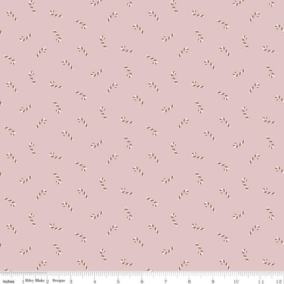 Warm Wishes -1/2 Yard Increments, Cut Continuously - (C10785 Pink Candy Canes) by Simple Simon and Company