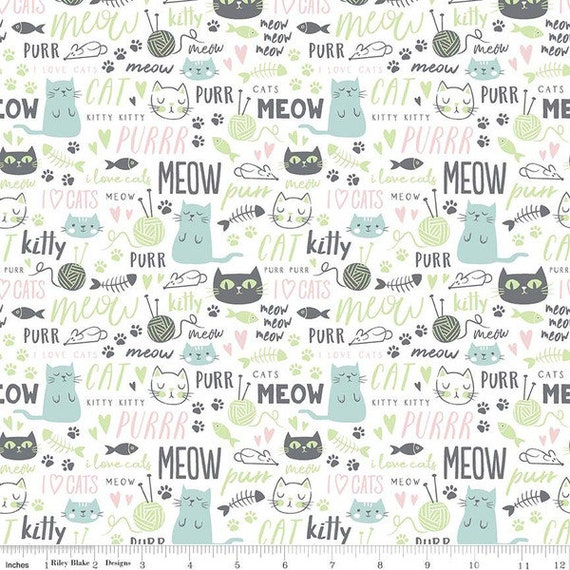 Purrfect Day - 1/2 Yard Increments, Cut Continuously (C9902 White Text) by My Minds Eye for Riley Blake Designs