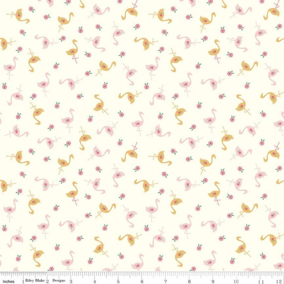 Stardust- 1/2 Yard Increments, Cut Continuously (SC10501 Flamingos Vintage White w/Metallic Gold) Beverly McCullough for Riley Blake Designs