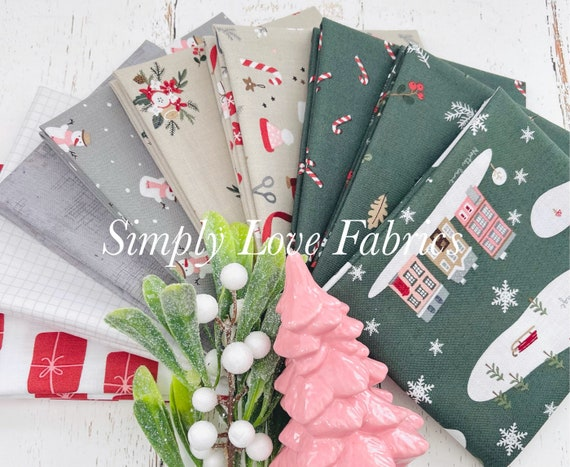 Warm Wishes- Fat Quarter Bundle (9 Green/Tan Fabrics) by Simple Simon and Company