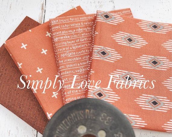 Smoke and Rust-Fat Quarter Bundle (4 Rust Fabrics) Lella Boutique for Moda