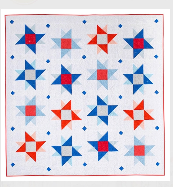 """The Starry Skies Quilt Pattern by Pen +Paper Patterns and Then Came June Finished Quilt Size 68"""" x 70"""""""