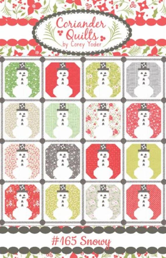 """Snowy Quilt PAPER Pattern-(CQ 165) Holliberry by Corey Yoder for Moda Fabrics- Finished Size 87"""" x 87"""""""