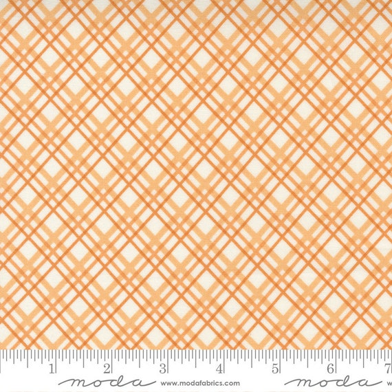 Pumpkins and Blossoms- 1/2 Yard Increments, Cut Continuously  (20424 11 Plaid Bias Check - Pumpkin) by Fig Tree & Co. for Moda