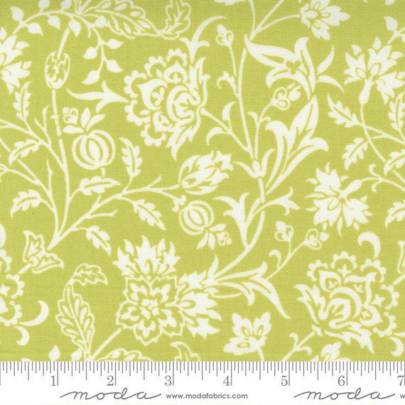 Pumpkins and Blossoms- 1/2 Yard Increments, Cut Continuously  (20420 14 Vine Damask - Sprout ) by Fig Tree & Co. for Moda