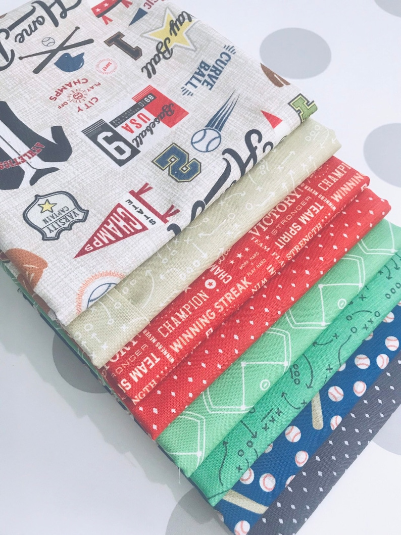 8 Fabrics 12 Yard Bundle Varsity Baseball by Deena Rutter For Riley Blake Designs