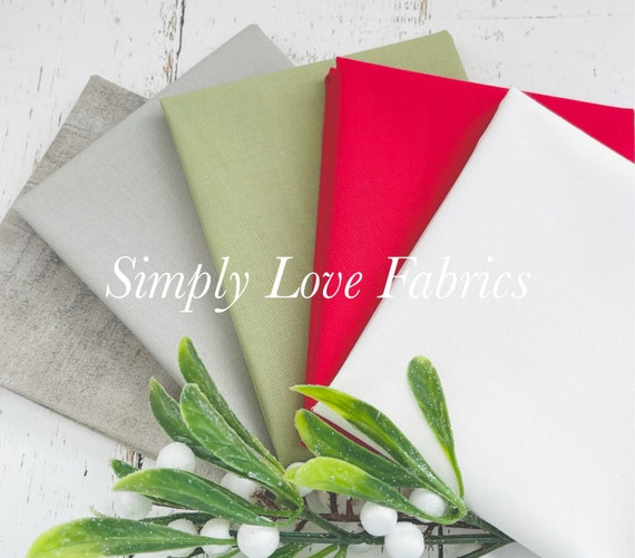 Bella Solids- Fat Quarter Bundle (5 Fabrics) coordinates with Christmas Morning by Lella Boutique for Moda