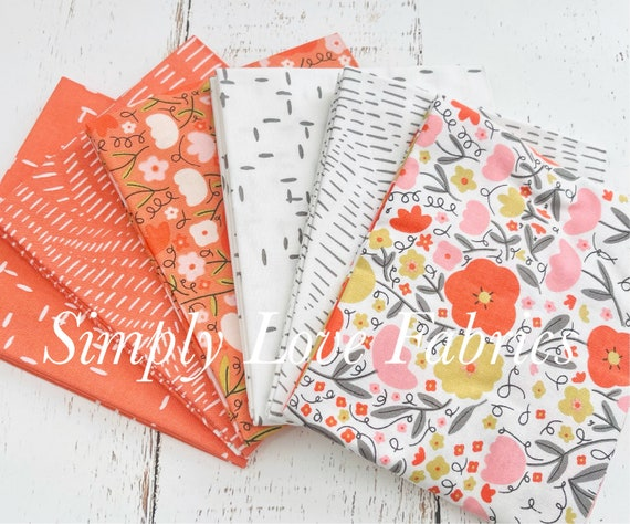 Words To Live By- Fat Quarter Bundle- 6 White/  Clementine Fabrics  -by Gingiber for Moda